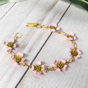 Vintage Pale Pink Enamel Flower Line Bracelet Boho